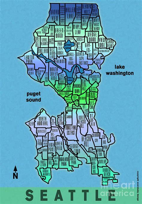 seattle map with neighborhoods seattle neighborhoods photograph by scarebaby design