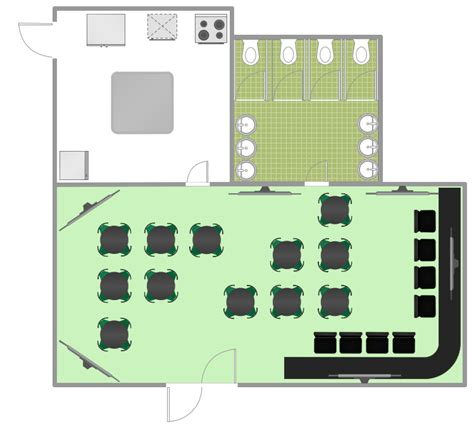 Small Restaurant Kitchen Design by Cafe And Restaurant Floor Plan Solution Conceptdraw Com