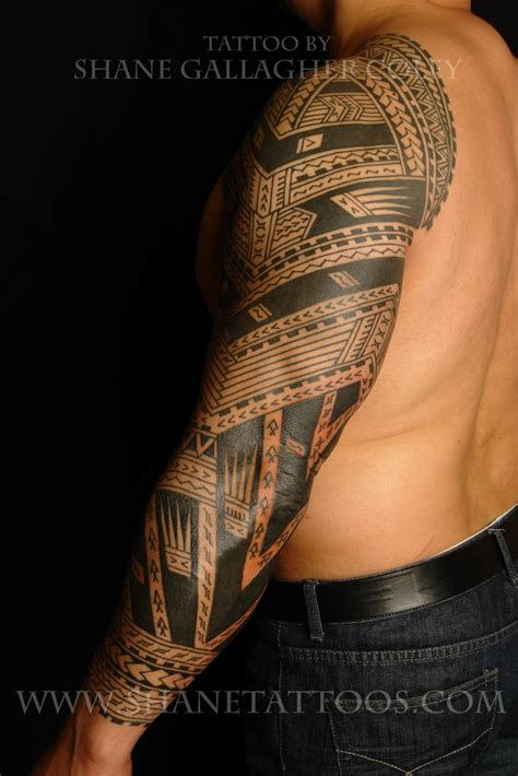 polynesian tattoo sleeve shane tattoos polynesian sleeve on sonny