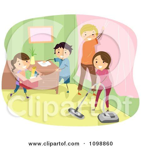 Picture Wall Decor Happy Family Doing Spring Cleaning In Their Home Posters