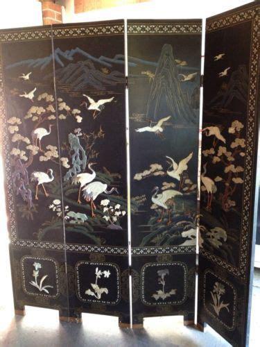 vintage oriental room divider screen  panels asian