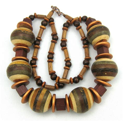 wooden beaded jewellery earthy jewelry wood bead necklace womens necklaces