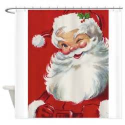 Decorative Area Rugs Vintage Christmas Jolly Santa Claus Shower Curtain By