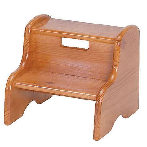 real wood step stool honey oak stain potty