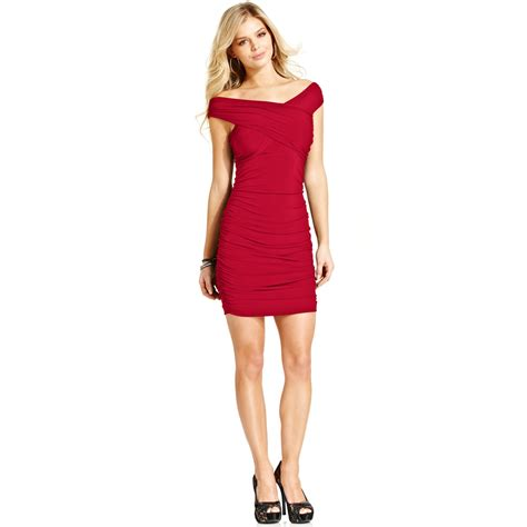 Guess Dress Spandek guess ruched dress in lyst