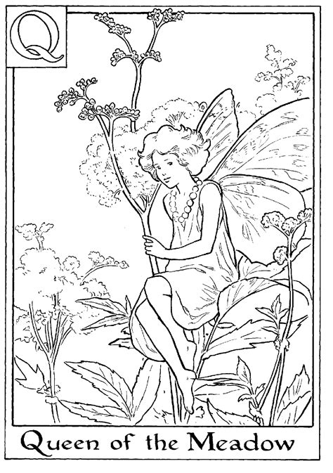Fairy Printable Colouring Page Q Is For Queen Of The Meadow Coloring Page