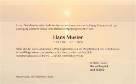 Muster Einladung Trauerfeier Danksagungskarte Abendstimmung Trauerkarte
