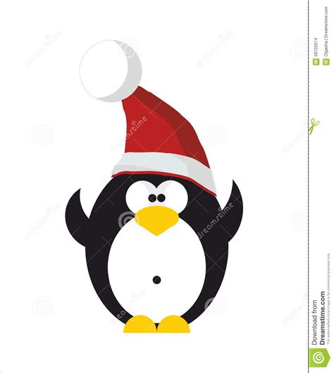 penguin in santa hat stock vector image of happiness