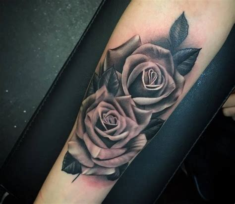 tattoo roses on arm realistic grey tattoos on arm sleeve by justin