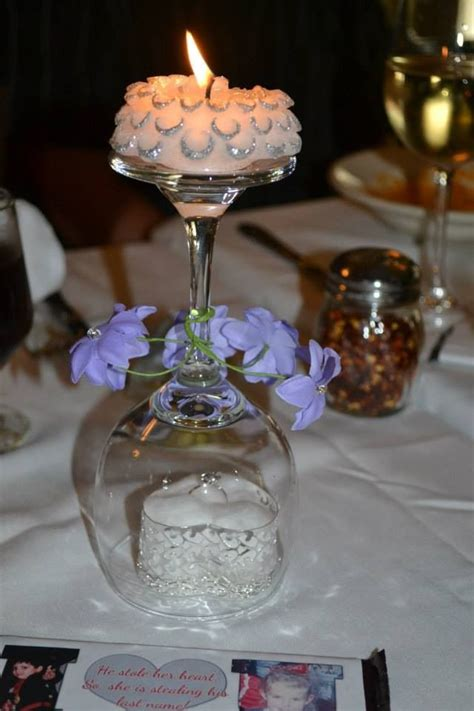 Diy Candle Centerpiece Upside Down Wine Glass Candle On