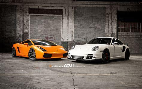 Porsche And Lamborghini Lamborghini Gallardo And Porsche 997 Tt Wallpaper Hd Car