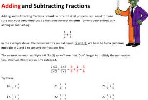 Adding and subtracting fractions worksheet solve my maths