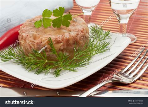 traditional new year s food traditional russian new year s food in aspic stock photo 138665888