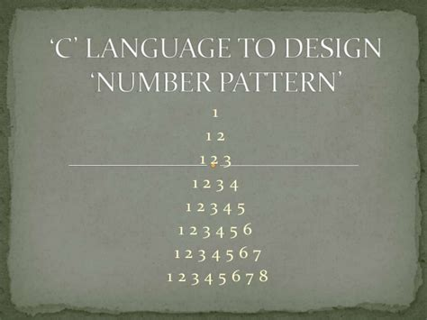 number pattern in c language number pattern using c language