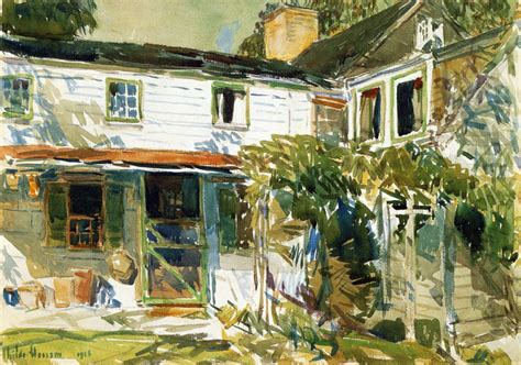 painting of houses back of the old house painting frederick childe hassam