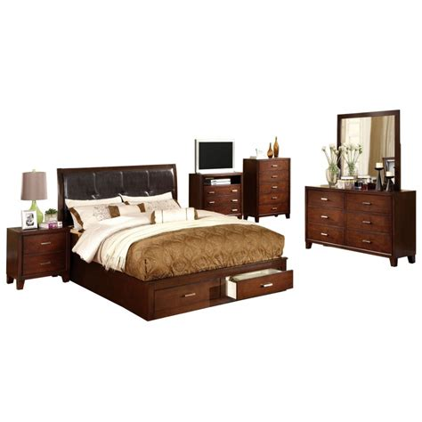 brown cherry platform king bed home furniture direct