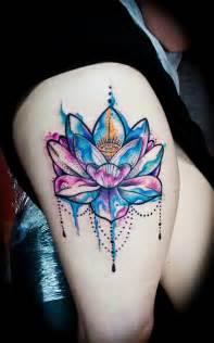 Colorful Lotus Tattoos Thigh Tattoos Golfian