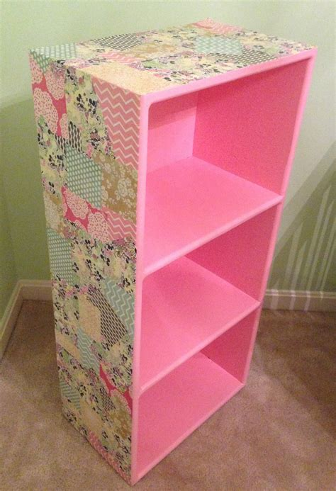 a bolt of diy decoupage bookcase