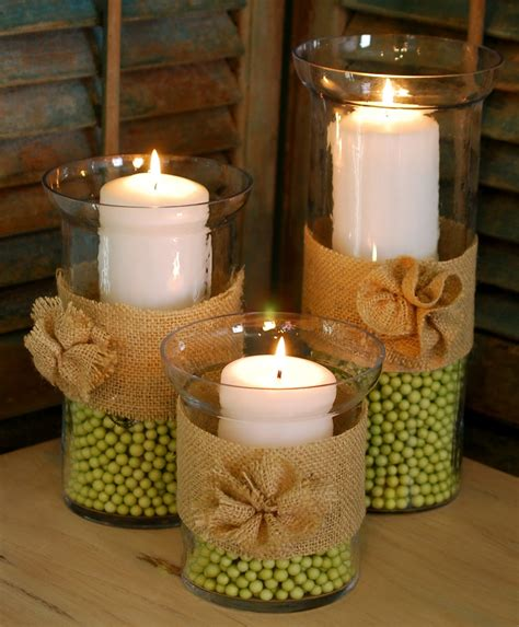 Hurricane Vase Centerpiece by Hurricane Vases Burlap Rosettes Amanda Brown