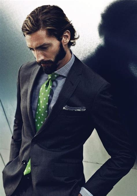 s black suit grey plaid dress shirt green polka dot