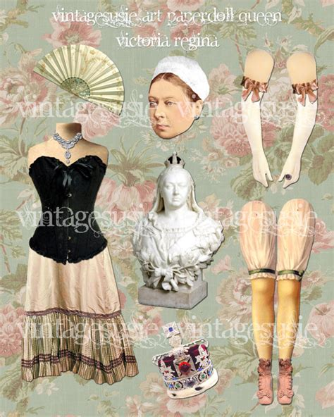 vintage paper doll digitial download by yourcraftephemera vintage art paper doll collage sheet queen victoria