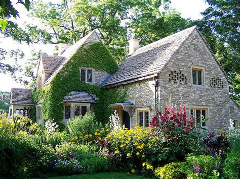 house cottage garden cottage with bird niches and surrounded by an