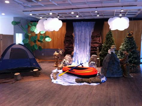 christmas vbs themes sonrise national park a tent on stage with waterfall and