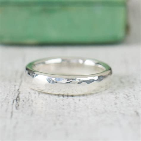 unisex hammered sterling silver ring by alison