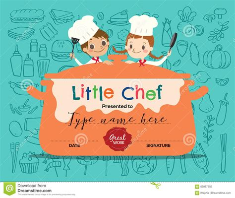 Kids Cooking Class Certificate Design Template Stock