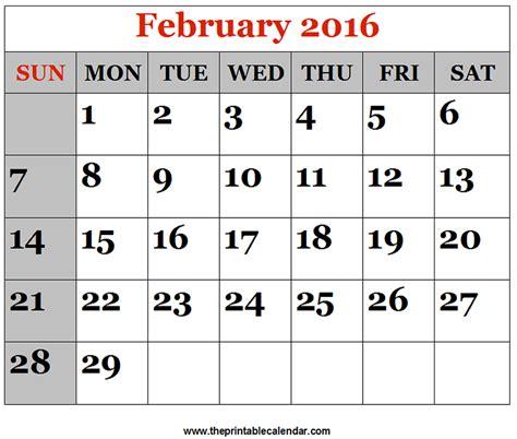 Calendar Printable 2016 February February 2016 Printable Calendars