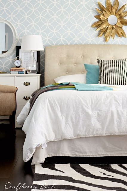 old headboard stencil patterns and bedroom wall on pinterest