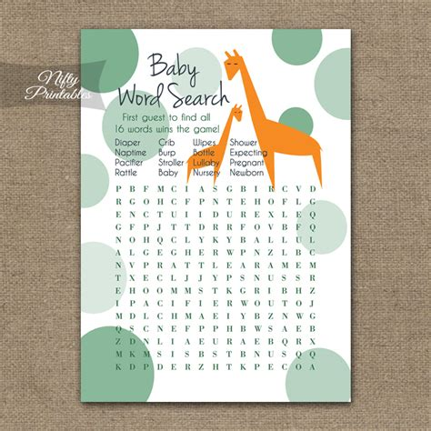 Other Words For Baby Shower by Printable Baby Shower Word Search Orange Giraffes