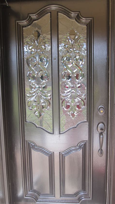 Clear Textured And Beveled Glass Door Panels Beveled Glass Door