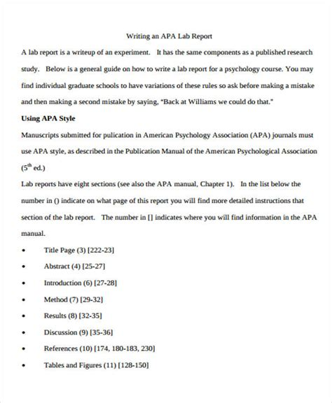 sle lab report format apa lab report template 28 images apa style