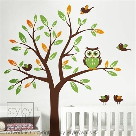 tree wall sticker nursery wall decal owl wall decal tree decal and birds by styleywalls