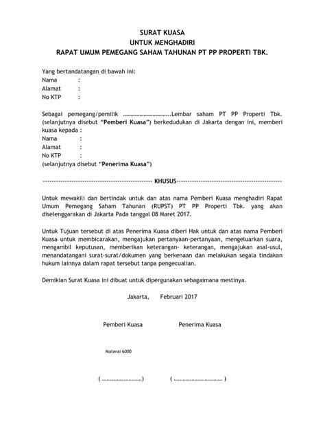 contoh surat kuasa untuk menghadiri rapat umum pemegang