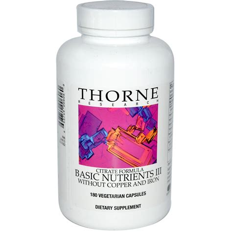 Thorne Basic Detox Nutrients by Basic Nutrients Iii W O Copper Iron Applied