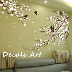 Wall Decals And Murals Cherry Blossom Branches With Birds Vinyl Wall Sticker