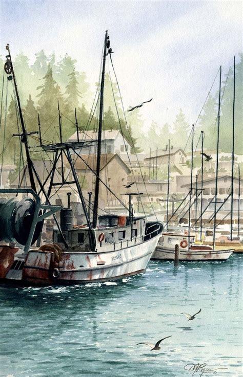 fishing boat artists morro bay fishing boat watercolor painting art by