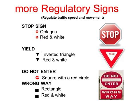 what color are regulatory signs three types of road signs ppt