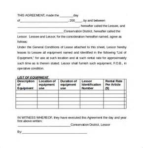 equipment lease agreement templates 6 samples