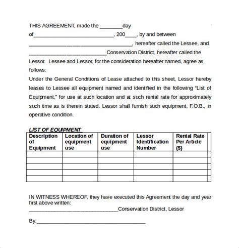 equipment rental lease agreement template equipment lease agreement templates 6 sles