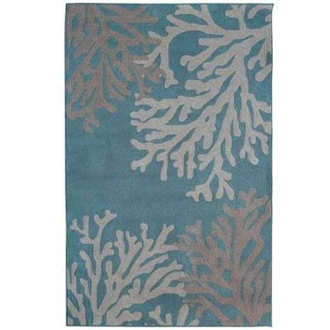 Coral Area Rug Lanart Coral Teal Polyester 6 Ft X 9 Ft Area Rug Coral6x9te The Home Depot