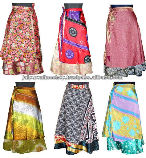 5 pcs magic wrap skirts vintage 2 layer indian wrap skirts wrap skirt red floral vintage sari reversible long beach