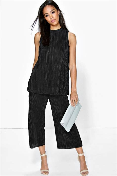 Spike Set Topculottes alis high neck top pleated culotte co ord set at boohoo