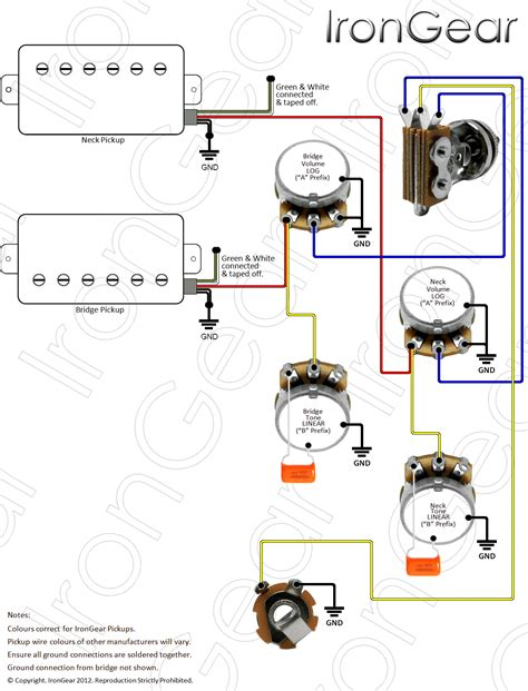 2 humbucker 3 way switch wiring diagram 1 volume