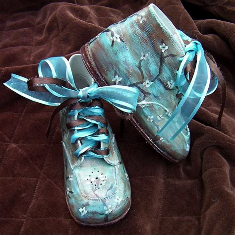toddler shoes leather turquoise brown painted on luulla