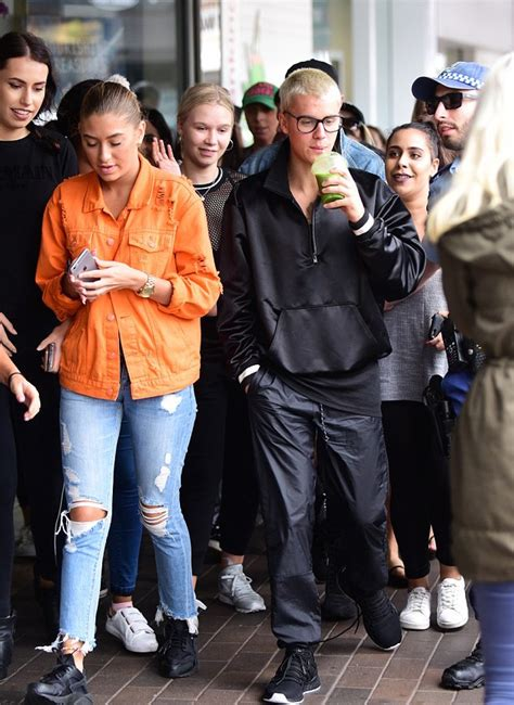 justin bieber wears fear of god jacket adidas and air sneakers in australia