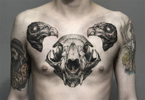 animal chest tattoos black ink animal skull on chest