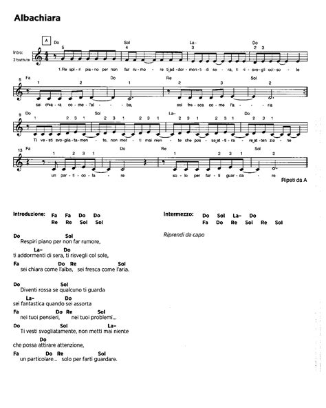 albachiara vasco sheet guitar chords